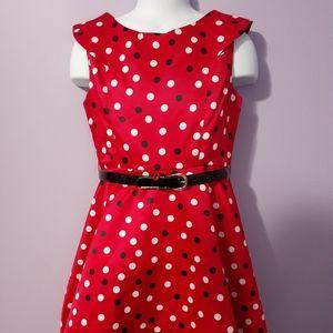 Girls red polka dot dress Size S 6/7
